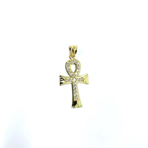 10K Yellow Gold Cross Ankh Pendant With Diamond Cut &  Zircons XS GAP-009 - WORLDSTARBLING