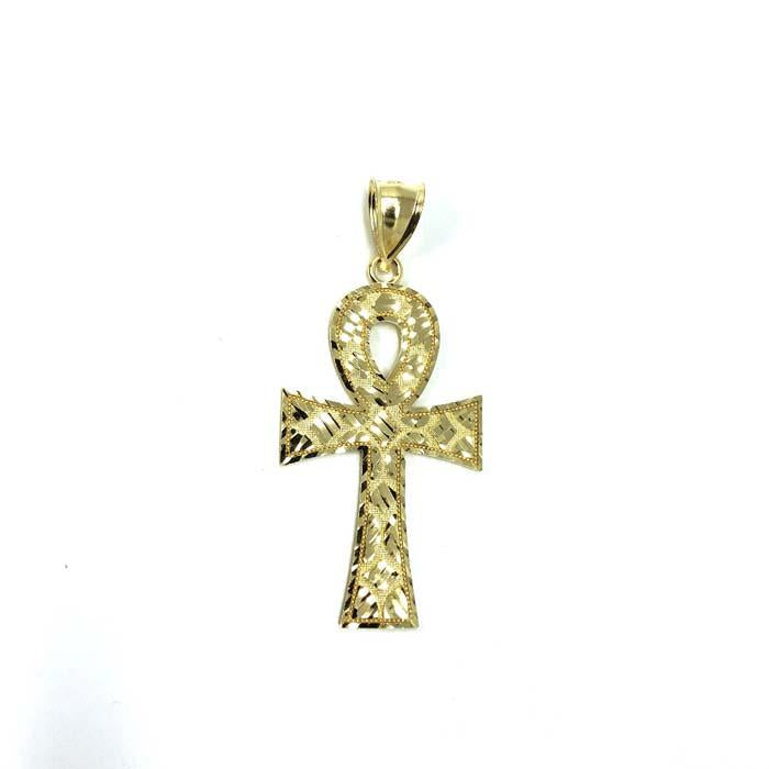 10k Yellow Gold Cross Ankh Diamond Cut Pendant GAP-011 - WORLDSTARBLING
