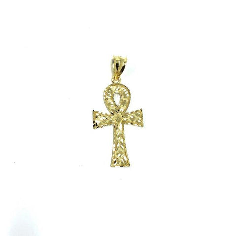 10K Gold Egyptian Ankh Cross Pendant With Diamond Cut S GAP-012 - WORLDSTARBLING