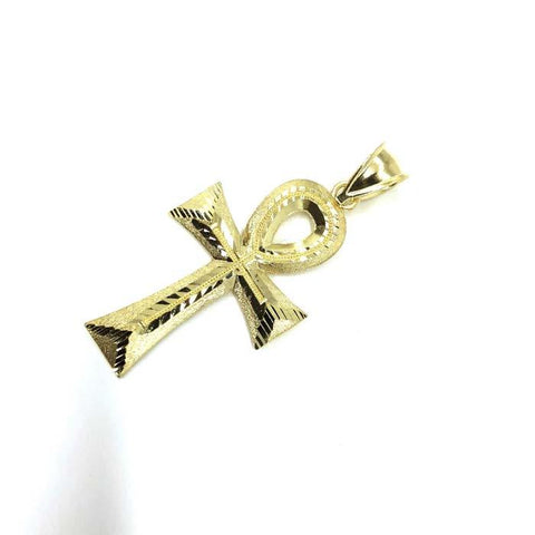 10K Yellow Gold Ankh Cross Diamond Cut Pendant GAP-014 - WORLDSTARBLING