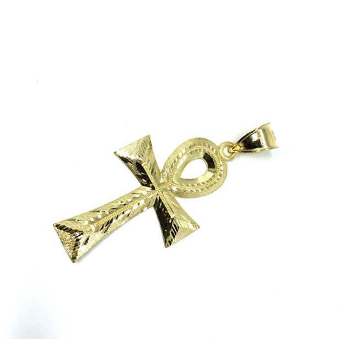 Egyptian Ankh Cross in 10K Yellow Gold with Diamond Cut L GAP-015 - WORLDSTARBLING