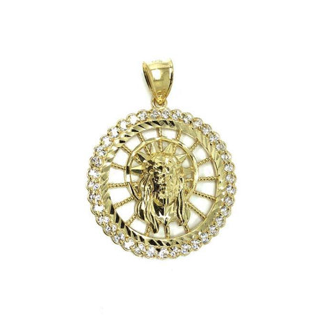 10K Jesus Man Pendant Yellow Gold Round With CZ GJP-012 - WORLDSTARBLING