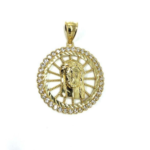 10K Yellow Gold And Zircons Jesus Man Pendant GJP-014 - WORLDSTARBLING