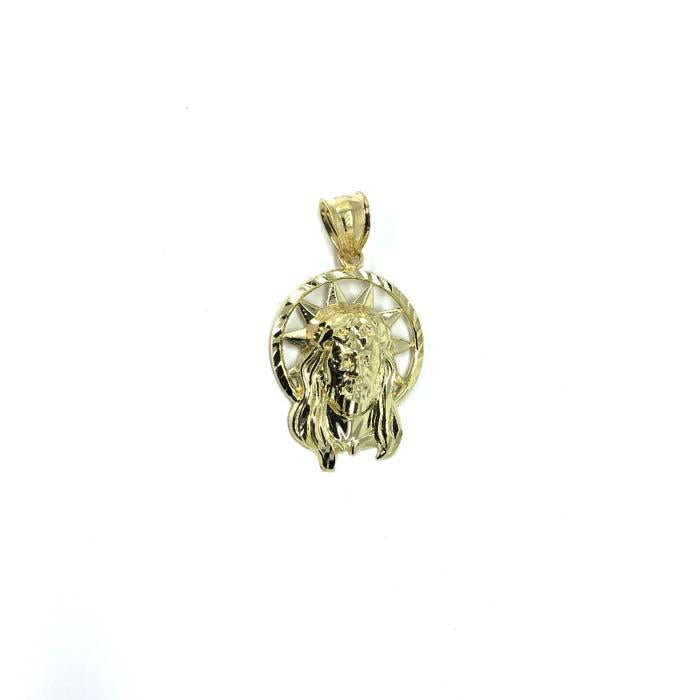 10K Yellow Gold Head Of Jesus Round Men's Pendant S GJP-016 - WORLDSTARBLING