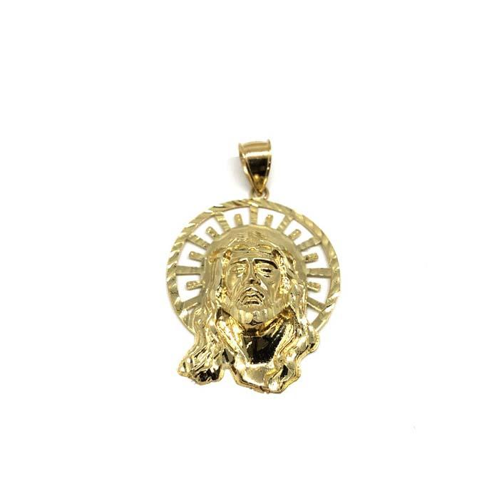 10K Yellow Gold Head Of Jesus Round Men's Pendant XL GJP-026 - WORLDSTARBLING