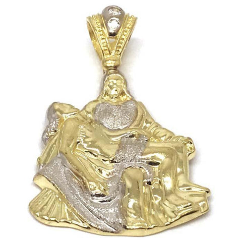 10K Yellow Gold and White Jesus Pendant GJP_001 - WORLDSTARBLING