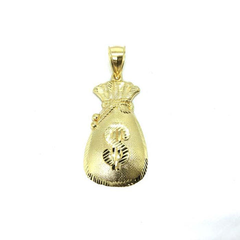 10K Yellow Gold Money Bag Men's Pendant GMP-002 - WORLDSTARBLING
