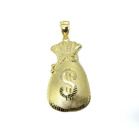 10 Karats Men's Gold Money Bag Pendant GMP-003 - WORLDSTARBLING