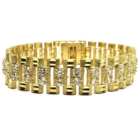 10K 15MM Bracelet CZ Rolly MB-004 - WORLDSTARBLING