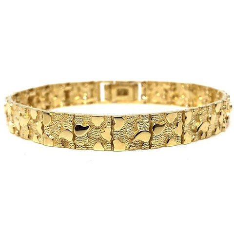 10K 9MM Nugget Bracelet MB-013 - WORLDSTARBLING