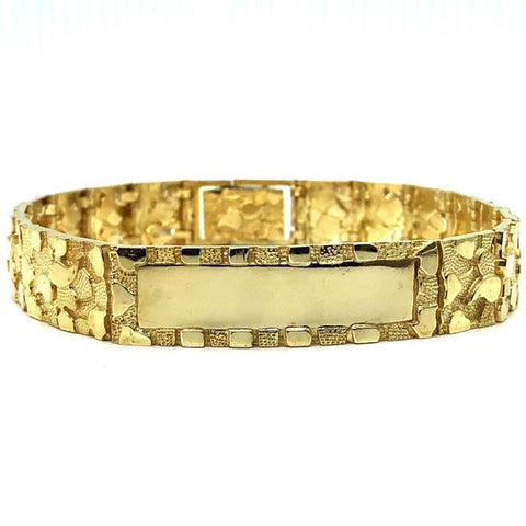 10K 14MM Nugget ID Bracelet MB-021 - WORLDSTARBLING