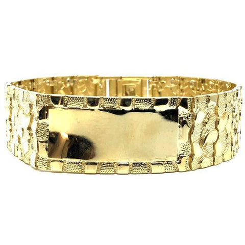 10K 20MM Nugget ID Bracelet MB-025 - WORLDSTARBLING