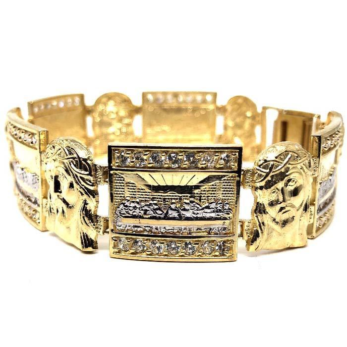 Bracelet en or jaune 10K 19MM The Last Supper & Jesus MBG-029