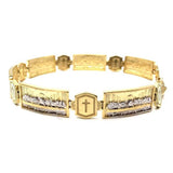 10K Yellow Gold 10MM The Last Cone & Cross Bracelet MBG-030 - WORLDSTARBLING