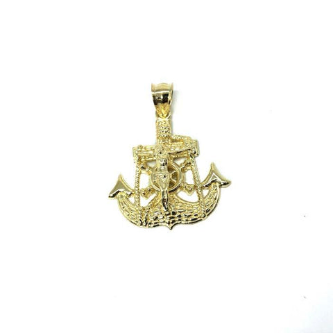10K Yellow Gold Anchor Men Pendant MPG-362 - WORLDSTARBLING