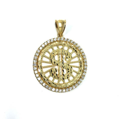 10 Karats Men's Gold Dollar Sign Pendant MPG-375 - WORLDSTARBLING