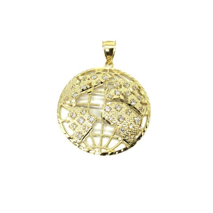 10K Yellow Gold Diamond Cut Globe Pendant with Cubic Zirconia XL MPG-386 - WORLDSTARBLING