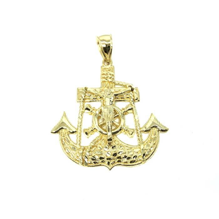 10 Karat Gold Anchor Men Pendant MPG-389 - WORLDSTARBLING