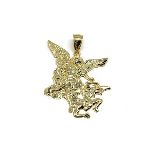 10K Yellow Gold Angel XL Men's Pendant MPG-422 - WORLDSTARBLING