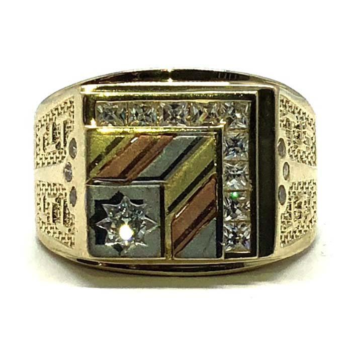 Three Tone Cubic Zirconia Men's Ring