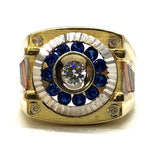 10K Yellow & White Gold Blue Stone Cubic Zirconia Circle Ring