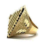 10K Yellow Gold Diamond Cut Ring MRG-211 - WORLDSTARBLING
