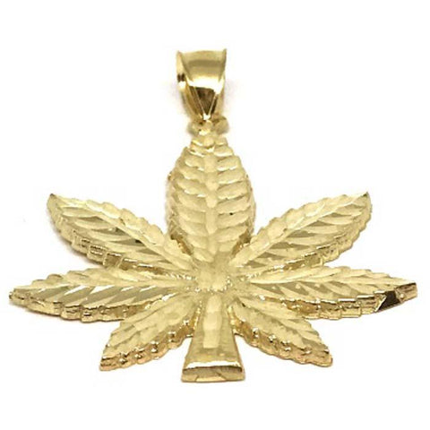 10K Yellow Gold Marijuanna Pendant MWG_002 - WORLDSTARBLING