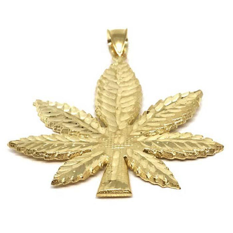 10K Yellow Gold Marijuanna Pendant MWG_003 - WORLDSTARBLING