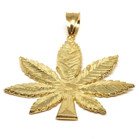 10K Yellow Gold Marijuanna Pendant MWG_004 - WORLDSTARBLING