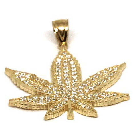 10K Yellow Gold Marijuanna Pendant MWG_005 - WORLDSTARBLING