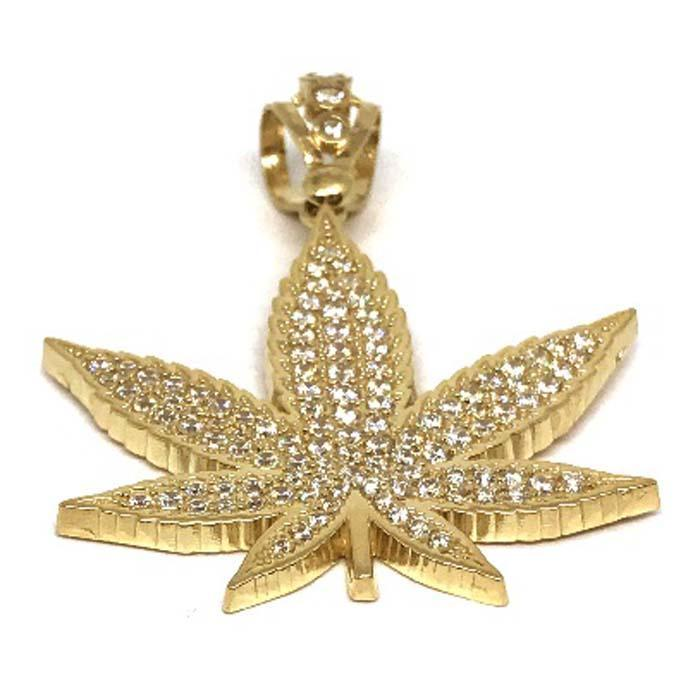10K Yellow Gold Marijuanna Pendant MWG_006 - WORLDSTARBLING