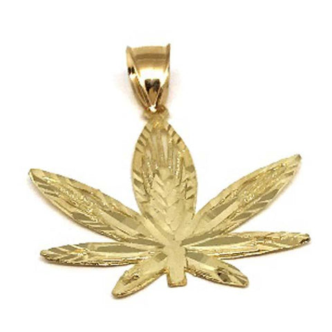 10K Yellow Gold Marijuanna Pendant MWG_007 - WORLDSTARBLING