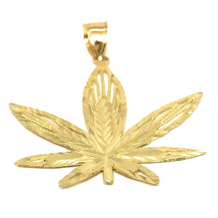 10K Yellow Gold Marijuanna Pendant MWG_009 - WORLDSTARBLING