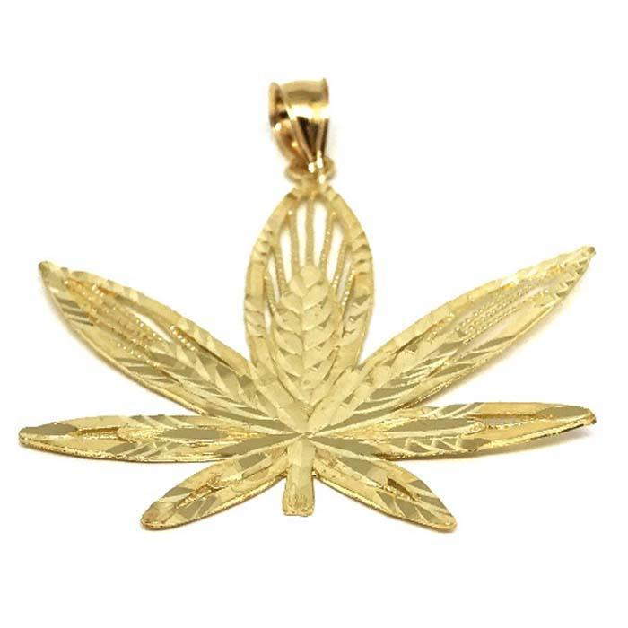 10K Yellow Gold Marijuanna Pendant MWG_010 - WORLDSTARBLING