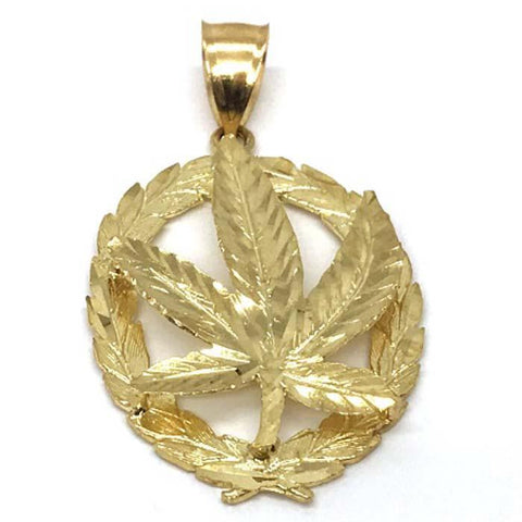 10K Yellow Gold Marijuanna Pendant MWG_015 - WORLDSTARBLING