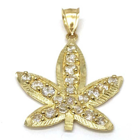 10K Yellow Gold Marijuanna Pendant MWG_017 - WORLDSTARBLING