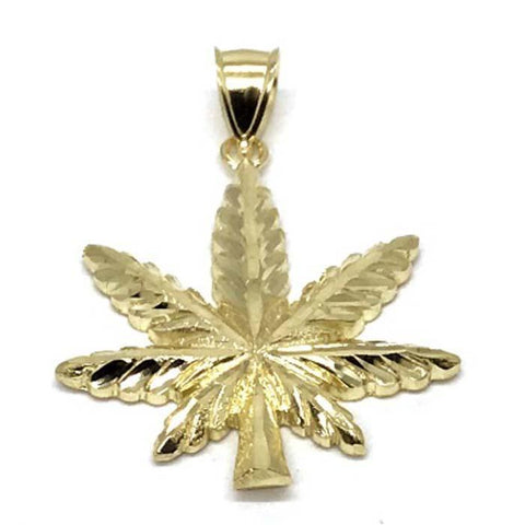 10K Yellow Gold Marijuanna Pendant MWG_019 - WORLDSTARBLING