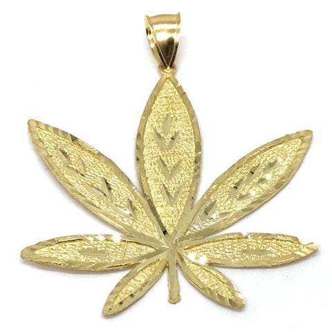 10K Yellow Gold Marijuanna Pendant MWG_020 - WORLDSTARBLING