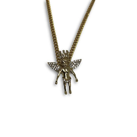 24IN 3MM ANGEL PENDANT WITH CHAIN STL_040 - WORLDSTARBLING