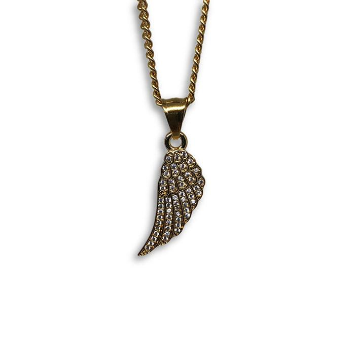 24IN 3MM ANGEL WINGS PENDANT WITH CHAIN STL_041 - WORLDSTARBLING