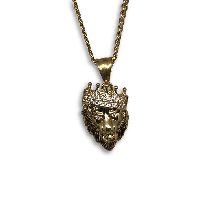 24IN 3MM LION PENDANT WITH CHAIN STL_042 - WORLDSTARBLING