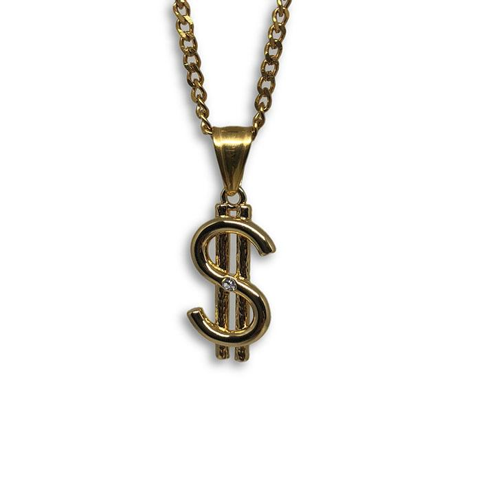 24IN 3MM CHAIN WITH DOLLAR SIGN PENDANT STL_044 - WORLDSTARBLING