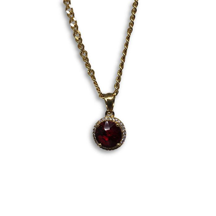 24IN 3MM CHAIN WITH ROUND VERSACE RUBY PENDANT STL_045 - WORLDSTARBLING