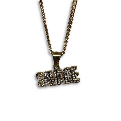 24IN 3MM CHAIN WITH SAVAGE PENDANT STL_047 - WORLDSTARBLING