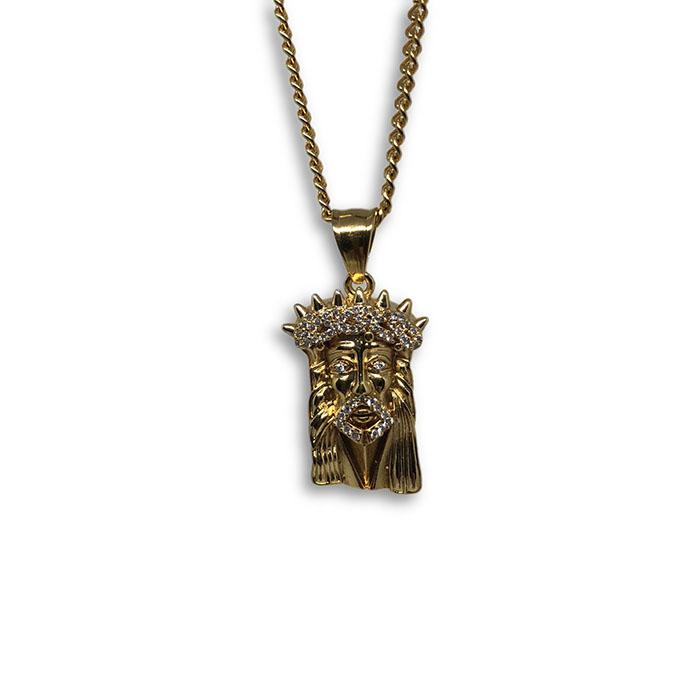 24IN 3MM CHAIN WITH JESUS PENDANT STL_051 - WORLDSTARBLING