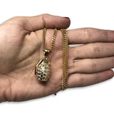 24IN 3MM GRENADE PENDANT WITH CHAIN STL_052 - WORLDSTARBLING