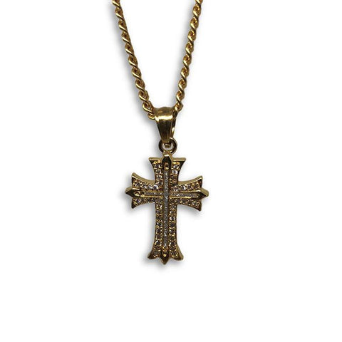 24IN 3MM CHAIN WITH CROSS PENDANT STL_053 - WORLDSTARBLING