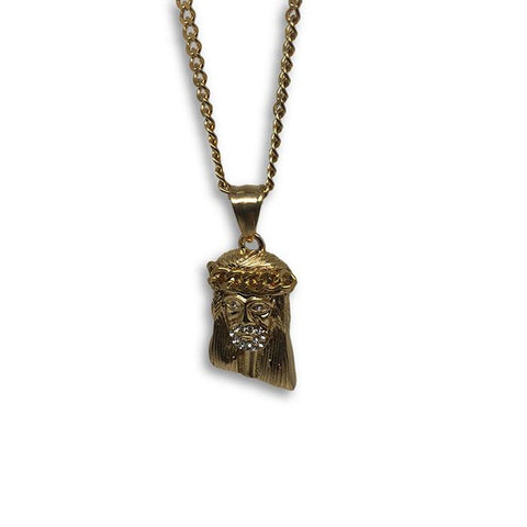 24IN 3MM CHAIN WITH JESUS PENDANT STL_054 - WORLDSTARBLING