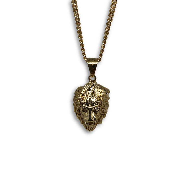 24IN 3MM LION PENDANT WITH CHAIN STL_055 - WORLDSTARBLING