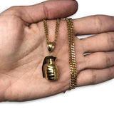 24IN 3MM GRENADE PENDANT WITH CHAIN STL_056 - WORLDSTARBLING